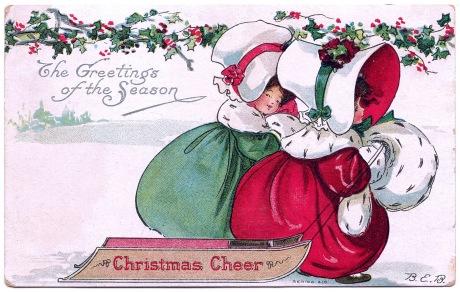 Vintage Christmas Clip Art - Bonnet Girls